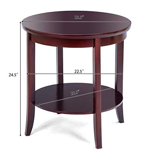 Round Wood End Table Sofa Side Coffee Table Storage Shelf Cherry