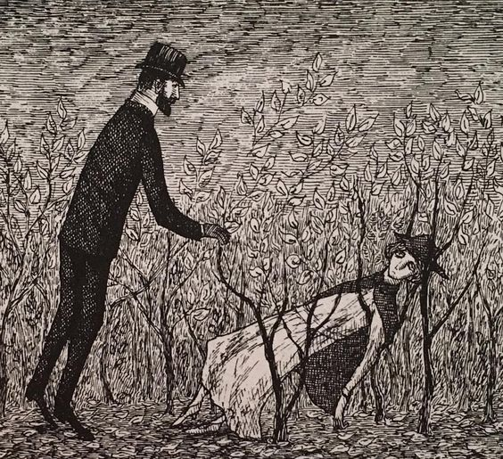 The nurse was discovered collapsed in some shrubbery, but her reappearance was not much use; her eyes were askew, her extremities rubbery, her clothing was stained with a brownish juice. #TheInsectGod #EdwardGorey