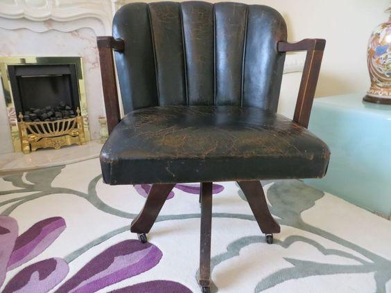 vintage art deco style leather tub swivel officedesk chair art deco desk chair office side armchair