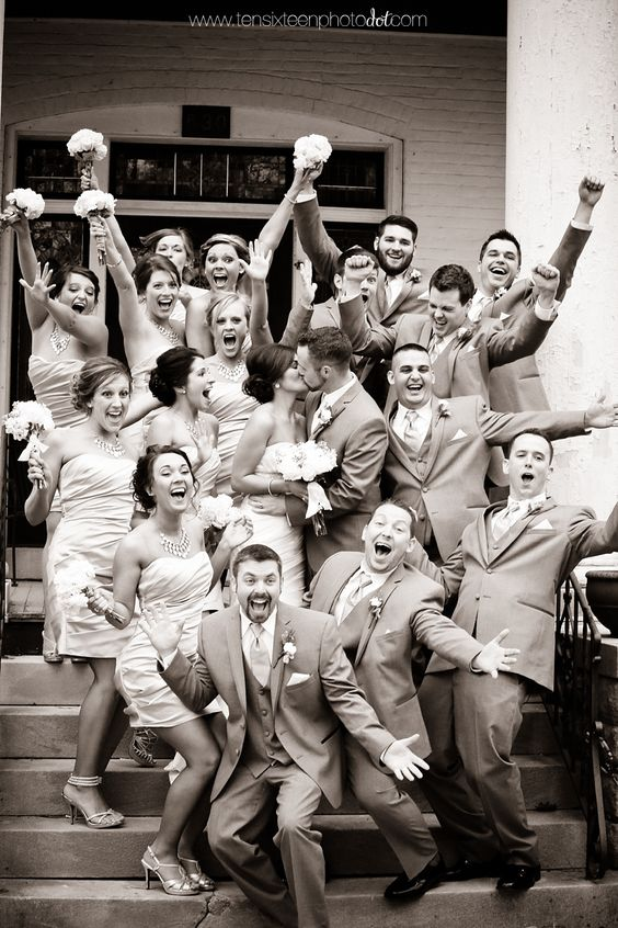 This is such a fun wedding party photo! we ♥ this! moncheribridals.com: