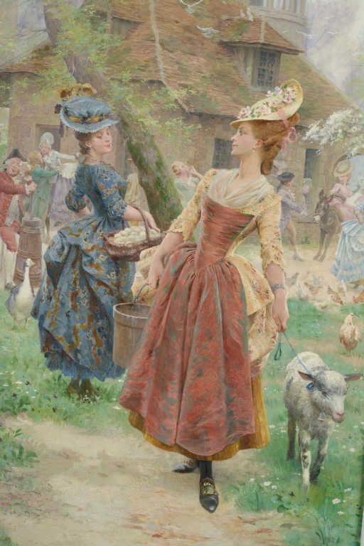 Maurice LELOIR (1853-1940) Les quatre saisons à Versailles et au Trianon Fete galante au hameau de la Reine Huile sur toile signée en bas à gauche. 267 x 89 cm