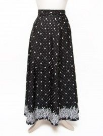Vintage Black & White 70's Maxi Skirt with Floral Pattern from Lallys Closet - £25