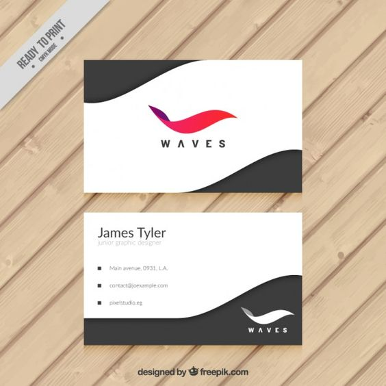 Abstract business card with a colored wave  Free Vector