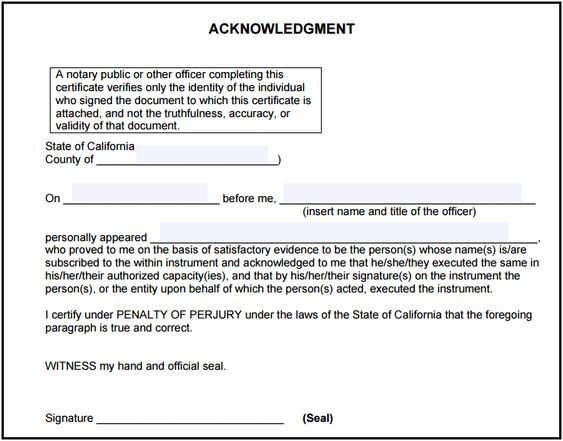 California notary acknowledgment notary public forms california ccuart Gallery