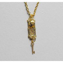 Golden Alice in Wonderland Doorknob and Key Necklace