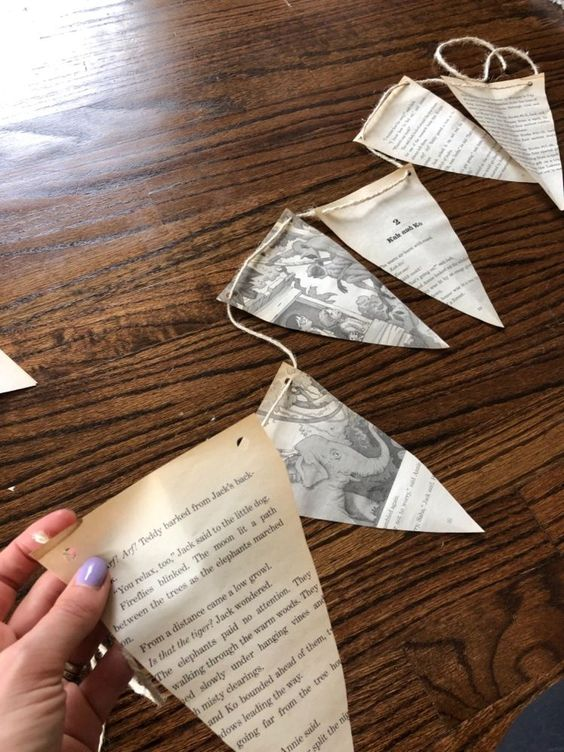Create a vintage and farmhouse vibe with this easy book page garland. You probably have everything in hand to make this garland! It would be a perfect decoration for a book themed party including a baby shower! Gather up the supplies and get started!*1 Book*String or Rope*Hole Puncher*ScissorsMake sure you pick a book you are willing to cut up. Depending on the look and theme you are going for, you will want to consider the appropriate book. For a baby shower, you could use old Golden…