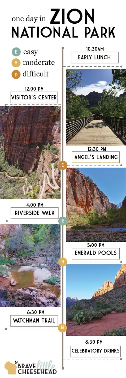 Zion National Park in Utah is divided into two sections. If you only have one day, plan to spend it in Zion Canyon. In only 8 hours, you can tackle four great hikes and soak up some of the most spectacular views the park has to offer.: