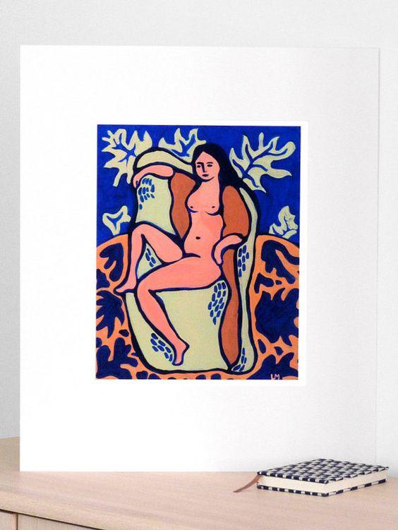 Femme-Feuille, peinture acrylique et pigments, impression en édition limitée, tirage pigmentaire Beaux Arts (Fine Art)