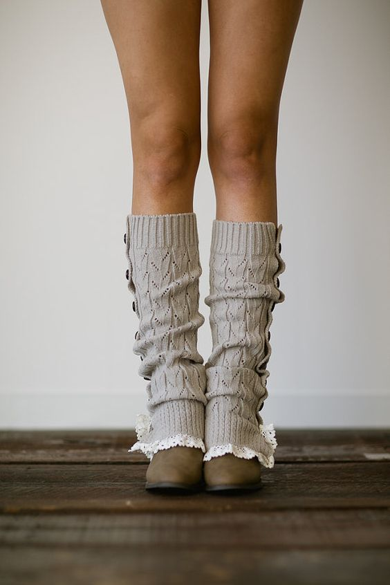 Gray Button Up Knitted Leg Warmers Lace Trim Boot Socks - Womenu0026#39;s Fashion Winter Accessories LW ...