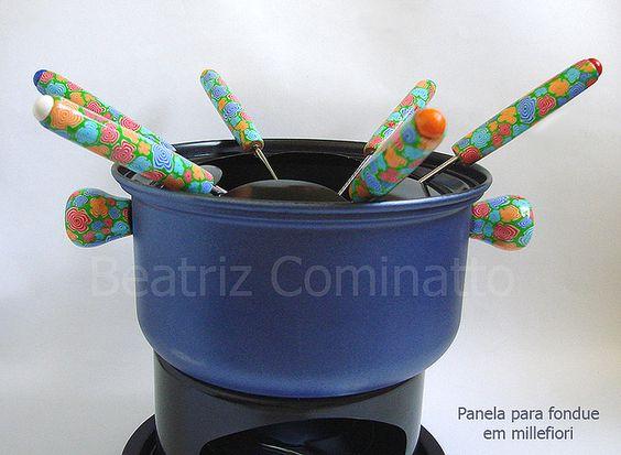 Conjunto para fondue com cabos revestidos em cerâmica plástica (polymer clay) | by Beatriz Cominatto