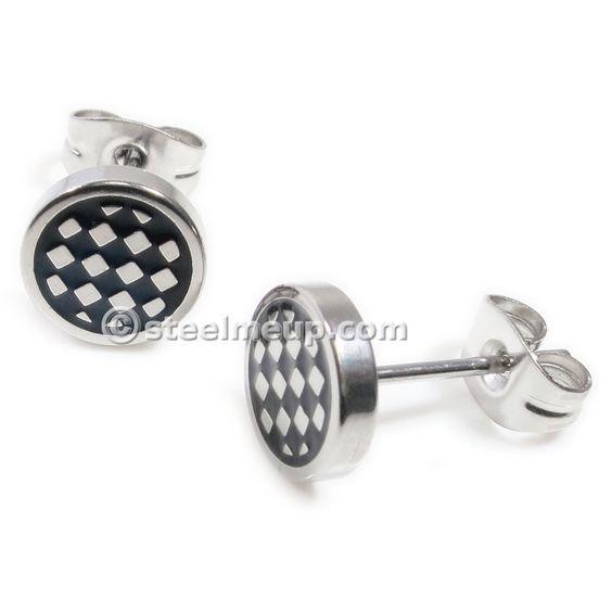 Pair Stainless Steel Silver Black Checker Box Post Stud Earrings 8mm