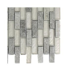 Splashback Tile Tectonic Brick Green Quartz Slate and White Gold Glass Floor and Wall Tile - 6 in. x 6 in.Tile Sample-R6C5 GLASS MOSAIC TILE at The Home Depot