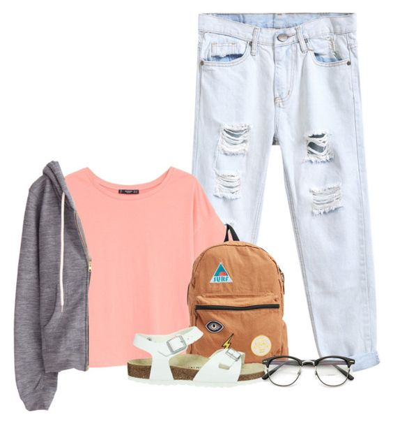 """Ainmere Stanaj"" by glitterxbieber ❤ liked on Polyvore featuring MANGO, Billabong and Birkenstock"