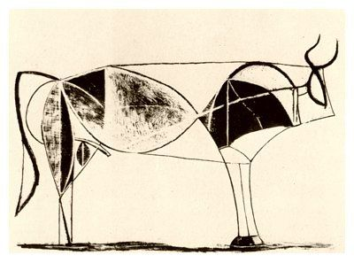 """'Bull - plate 7', December 28, 1945, Pablo Picasso, (lithograph), France. """"Through the development of these drawings, Picasso is beginning to understand the displacement of weight and balance between the front and rear of the animal. As Picasso recognizes the balance of form in the bull, he starts to remove and simplify some of the lines of construction that have served their function. He then encases the essential elements that remain in a taut outline."""""""