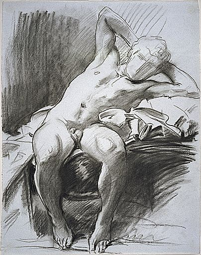 John Singer Sargent - Male Nude Reclining; verso: Study of a Male Nude