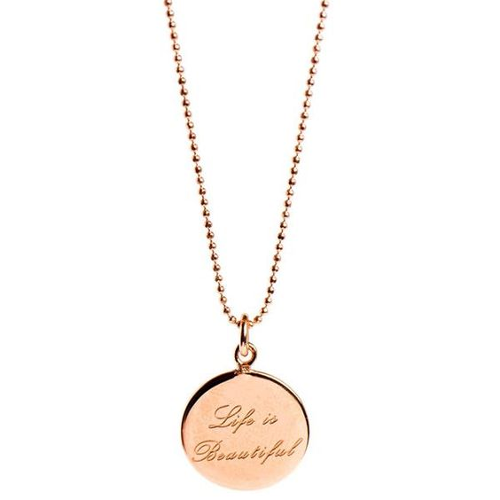 Mantra Life is Beautiful Mantra Necklace in Rose Gold Fabulous Collections