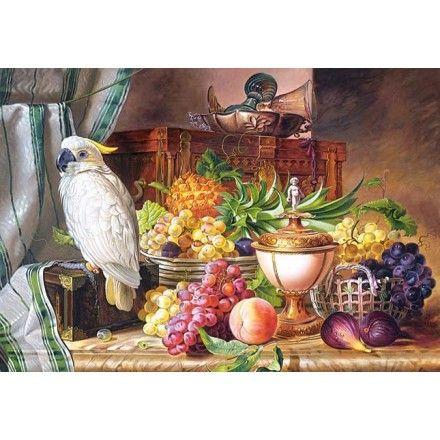 300143 - Puzzle Naturaleza Muerta con frutas y cacatua, 3000 piezas, Castorland.  http://sinpuzzle.com/puzzle-3000-piezas/1029-300143-puzzle-naturaleza-muerta-con-frutas-y-cacatua-3000-piezas-castorland.html
