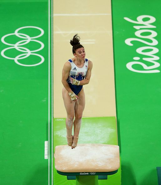 #RIO2016 Ruby Harrold of Great Britain practices on the vault during an artistic gymnastics training session on August 4 2016 at the Arena Olimpica do Rio in...