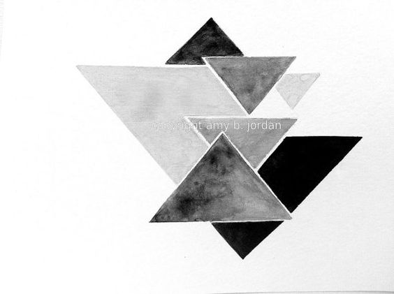 Triangle Geometric Watercolor Painting Or Print ...