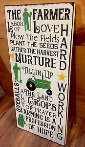 The Farmer Farming Wood Sign Tractor John Deere Rustic Farmhouse Decor Primitive | eBay