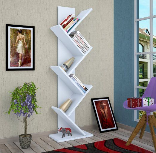 TREE Libreria - Bianco - Scaffale per libri - Scaffale per ufficio / soggiorno dal design moderno
