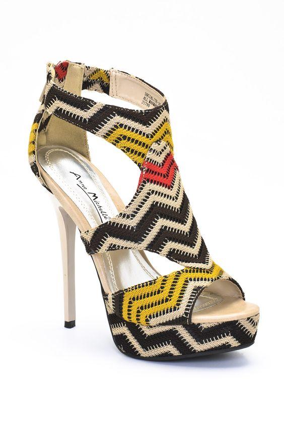 Anne Michelle Socialite 35 Zig Zag Open Toe Sandal by Anne Michelle MODOCAT