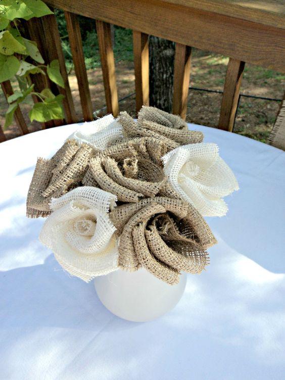 Burlap Bouquet Burlap Wedding Burlap Flowers Floral Arrangement French Farmhouse. $28.00, via Etsy.  Ashley!: