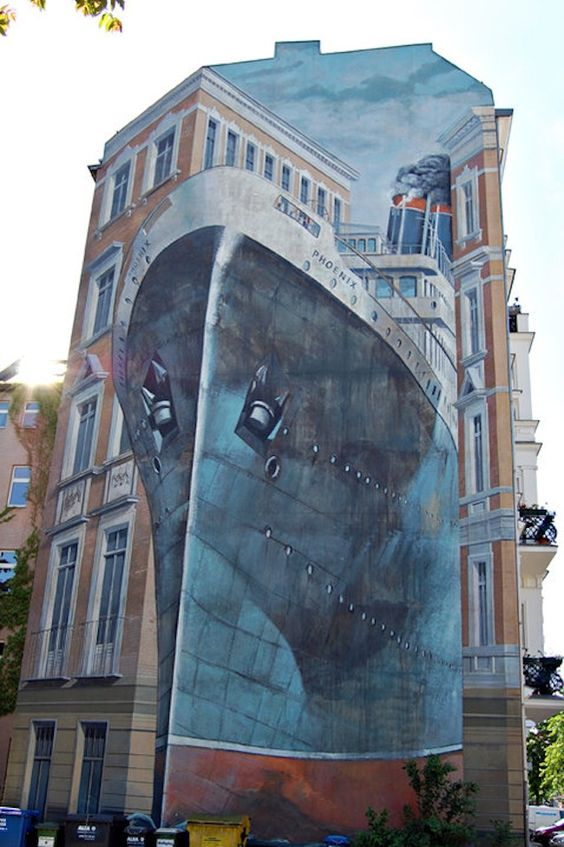 "Ship on building >> Awesome! ""Symbolic mural in Berlin 1994 of ocean liner Phoenix"""