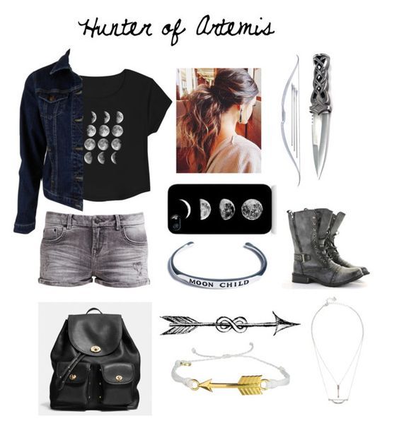Hunter of Artemis by stray-arrow on Polyvore featuring polyvore, fashion, style, MiH Jeans, LTB by Little Big, CO, Coach, Pura Vida, Shop Dixi, Samsung and clothing