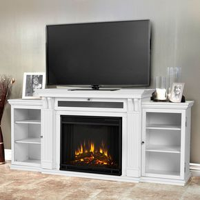 Calie Electric Fireplace Entertainment Center In White 7720e W