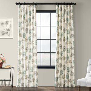 Half Price Drapes Allium Printed 100 Cotton Floral Room Darkening Rod Pocket Single Curtain Panel Re In 2020 Half Price Drapes Printed Cotton Curtain Panel Curtains
