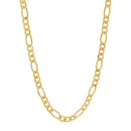 Made In Italy 10k Gold 24 Inch Hollow Figaro Chain Necklace In 2020 Figaro Chain Necklace Chain Necklace Necklace