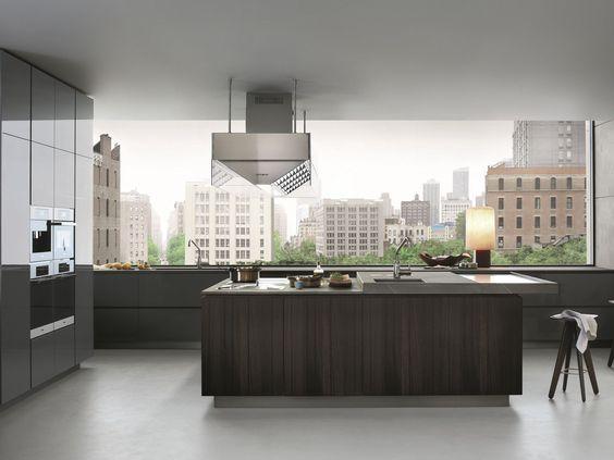 Lackierte Küche aus Holz mit Kücheninsel ARTEX by Varenna by - innovative holzpaneele deckenmontage