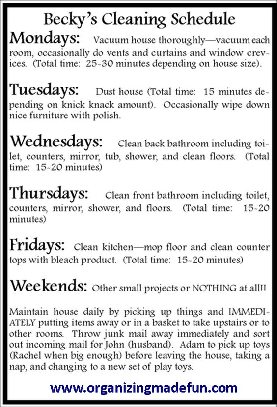 Cleaning schedule that worked for someone