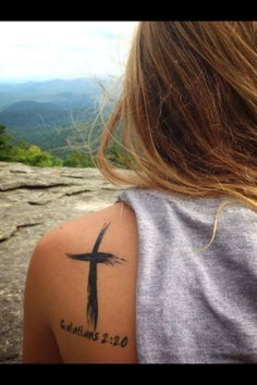Eventually I want to get this cross tattoo. Maybe on the side of my calf. And instead of the bible verse, I want it to say 'Blessings.'