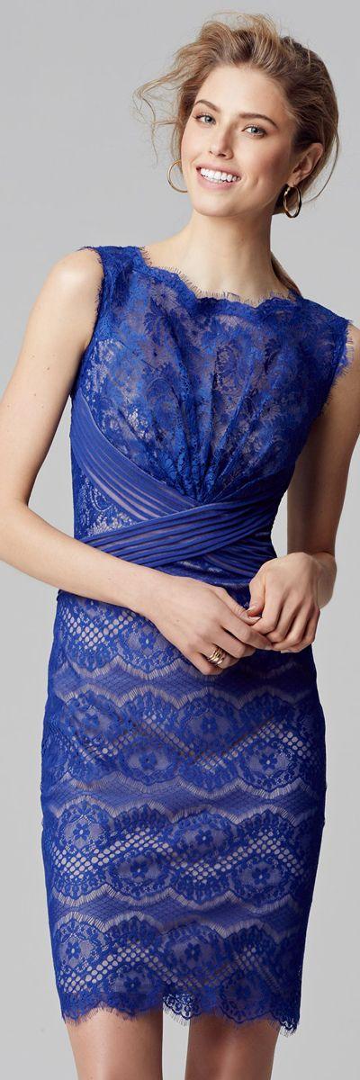 Blue Lace Sheath Dress