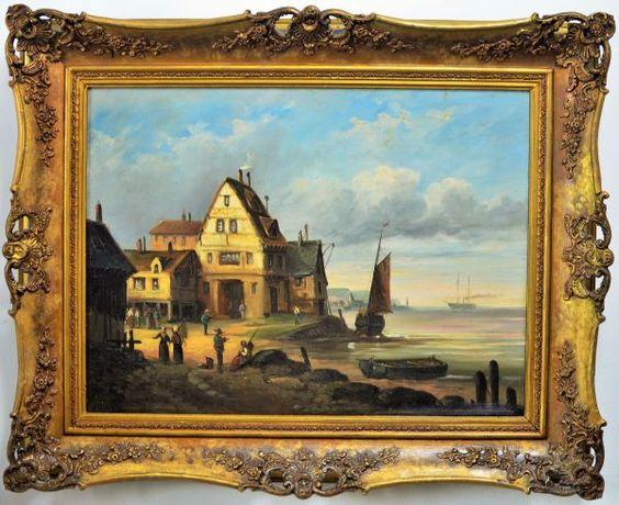 31-Belíssimo pendant de pinturas á óleo sobre tela, escola holandeza do final do séc. XIX, re