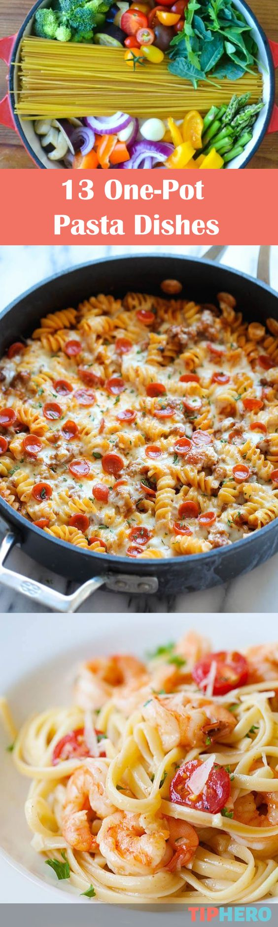13 One-Pot Pasta Dishes | Make weeknight cooking a breeze with this collection of pasta recipes. Try out a pizza pasta bake or Caprese or Greek Chicken with feta and more! #family #dinner #easymeals
