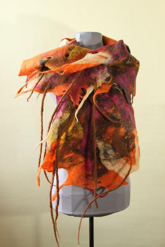 woolen scarf, orange and brown scarf, felted scarf, cobweb scarf, wet felt scarf
