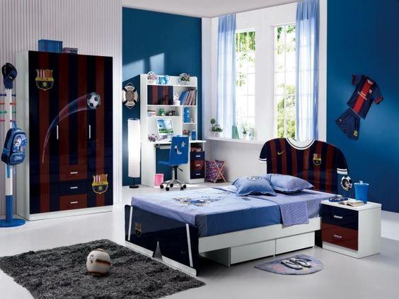 chambre ado garon en couleur bleue avec une garde robe et lit - Couleur Peinture Chambre Ado Garcon