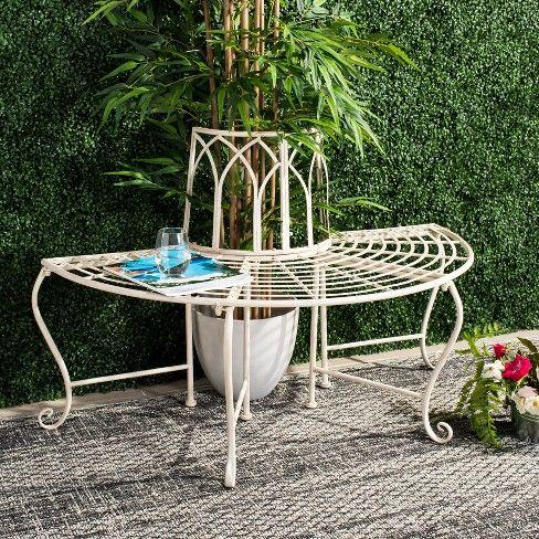 Abia Wrought Iron Outdoor Tree Bench Antique White Safavieh