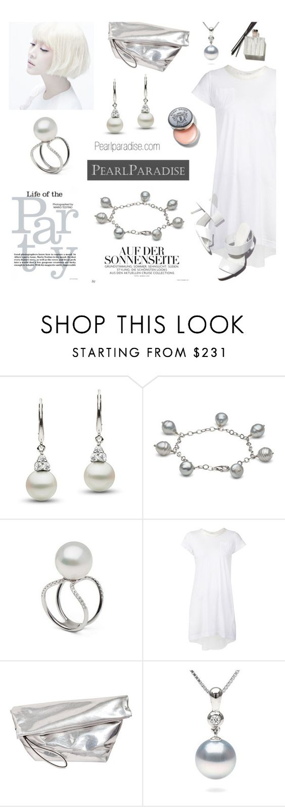 """""""street style-pearl jewelry"""" by cly88 ❤ liked on Polyvore featuring Sacai Luck, Marni, Alexander Wang, Bobbi Brown Cosmetics, white, metallic, pearljewelry and pearlparadise"""