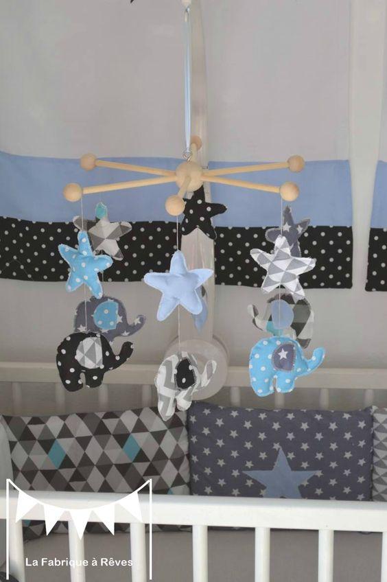 mobile éveil éléphant enfant bébé bleu gris noir décoration chambre 2