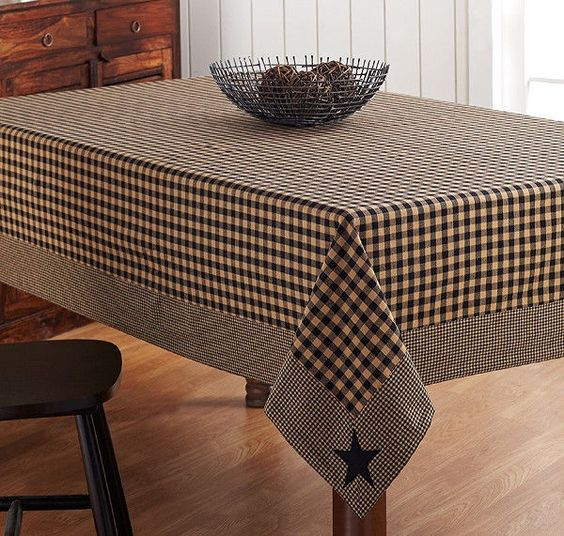 New Primitive Country BLACK TAN CHECK STAR TABLECLOTH