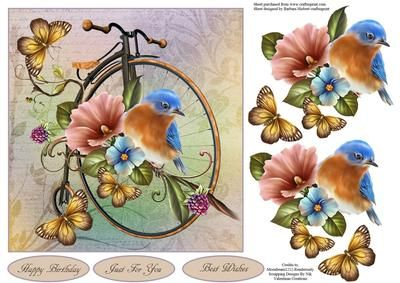 Garden of Peace Topper with Decoupage on Craftsuprint designed by Barbara Hiebert - This is vintage bicycle that has been used as a garden decoration, and it is so quiet and peaceful that a little bird and butterflies have come for a visit.The sentiment tags say,Happy BirthdayJust For You Best Wishes - Now available for download!