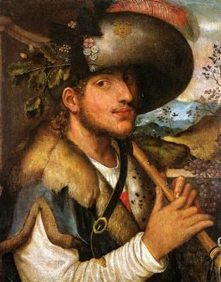 Niccolò Frangipane (Italian, ca.1555-1600) ~ Young Man with a Recorder ~ oil on canvas ~ Auxerre: Lablanc-Duvernoy Museum ~: