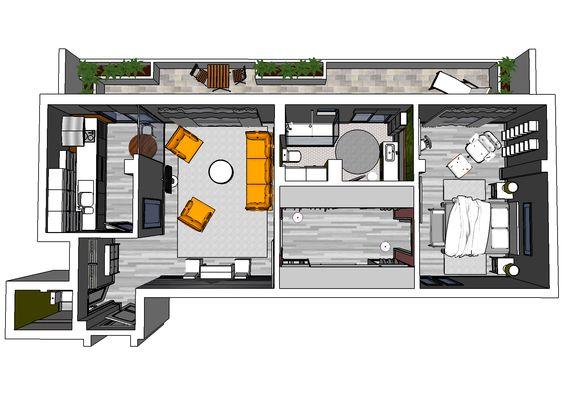Bachelor Apartment 3d Floor Plan