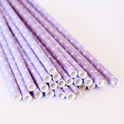 Swiss Dot Paper Straws - Lavender