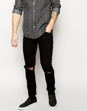 Cheap Monday Exclusive Tight Skinny Jeans with Ripped Knee | STYLE
