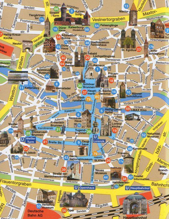 City Map Nuremberg Germany A map to get around Nuremberg – Germany Sightseeing Map